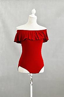 Topy - Dámske červené body s holými ramenami - 12095717_