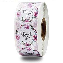 Papier - Nálepka thank you ružová 2,5 cm  - 12097088_
