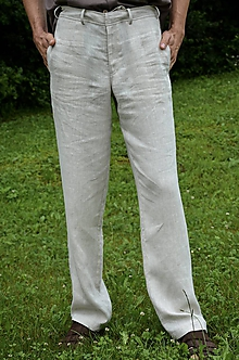 Nohavice - Pánske ľanové nohavice Emil - 12095794_