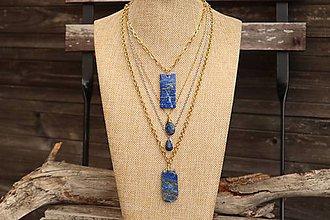 Náhrdelníky - Retiazka z nerezu - Lapis Lazuli - 12096035_