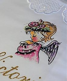 Detské oblečenie - košieľka na krst s anjelikom - ružová - 12099603_