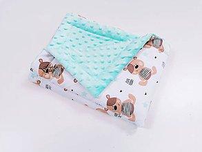 Textil - Minky mint deka s mackom a hviezdičkami 70*100cm - 12099555_