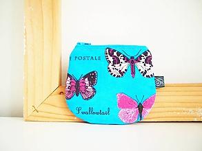 Peňaženky - Peňaženka - motýle na tyrkysovej - 12098886_