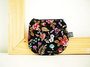 Peňaženky - Peňaženka - kvety na čiernej - 12098975_