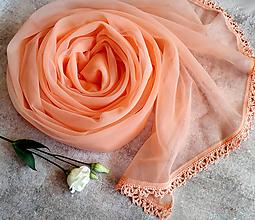 Šály - Voní broskvoní - průhledný šál oranžový - 12100826_