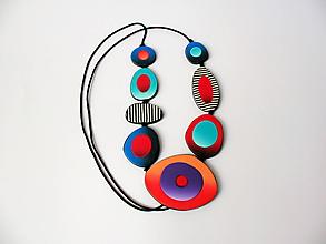 Náhrdelníky - ,,Náhrdelník farebný s pásikmi,, - 12100191_