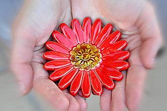 Dekorácie - Keramický kvet- červený - 12099655_