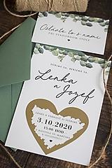 Svadobné stieracie oznámenie - Eukalyptus ❤