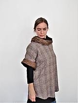 Tuniky - Dámsky hnedý top s vlneným golierom - 12102003_