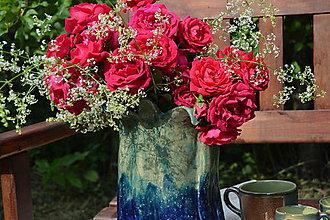 Dekorácie - Váza modro zelená, lístková. - 12100912_