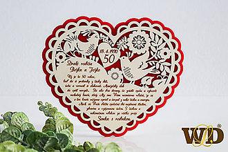 Dekorácie - Výročie svadby Ľudové srdce - 12102651_