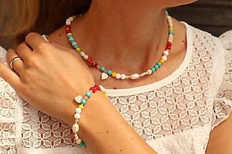 Sady šperkov - Súprava náhrdelníku a náramku z minerálov - 12101705_