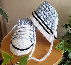 Topánočky - Háčkované tenisky - 12103575_