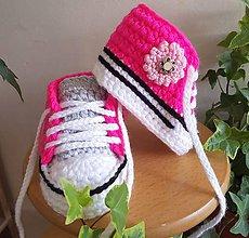 Topánočky - Háčkované tenisky - 12103643_