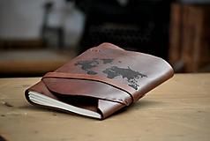 Papiernictvo - kožený zápisník WORLD MAP - 12104261_