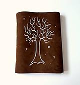 Papiernictvo - Zápisník kožený s kresbou stromu A5 - 12103377_