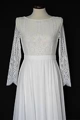 Šaty - Svadobné šaty s dlhým rukávom a kruhovou sukňou - 12103293_