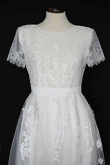 Šaty - Tylové svadobné šaty z lúčnej krajky - 12103254_
