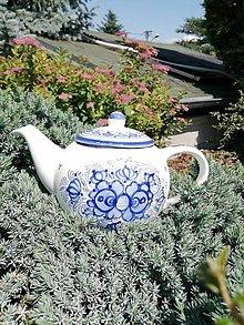 Nádoby - Modrý maľovaný čajník - 12106353_