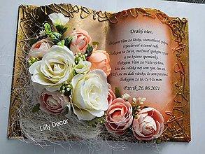 Papiernictvo - Svadobná kniha poďakovanie rodičom zlato-marhuľová - 12107908_