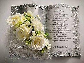 Papiernictvo - Svadobná kniha poďakovanie rodičom bielo-strieborná - 12108169_