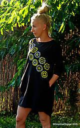 Šaty - Dámske šaty mini, oversize, šité, maľované, etno DUNA - 12105801_