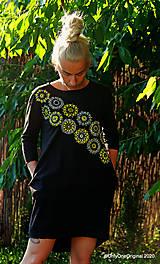 Šaty - Dámske šaty mini, oversize, šité, maľované, etno DUNA - 12105803_