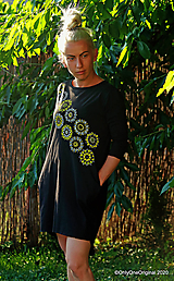 Šaty - Dámske šaty mini, oversize, šité, maľované, etno DUNA - 12105806_