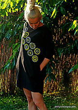 Dámske šaty mini, oversize, šité, maľované, etno DUNA