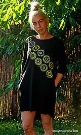 Šaty - Dámske šaty mini, oversize, šité, maľované, etno DUNA - 12105827_