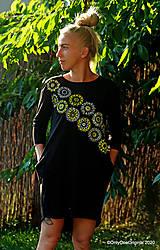 Šaty - Dámske šaty mini, oversize, šité, maľované, etno DUNA - 12105830_