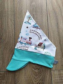 Detské čiapky - Čelenka so šiltom a šatkou - 12105403_