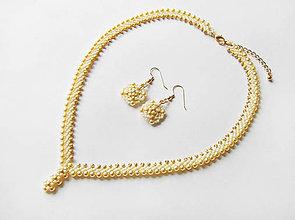 Sady šperkov - Šitý zlato-béžový set - 12107299_