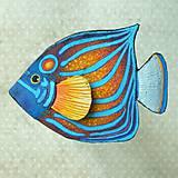 Brošne - Blue Ring Angelfish - kožená brož s malbou - 12107955_