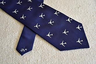 Doplnky - Tmavě modrá kravata s bílými letadly - 12107587_
