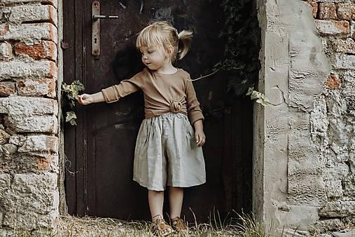 Detské oblečenie - Ľanové kulotky  (Modrá) - 12110998_