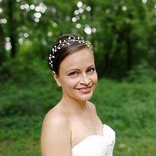 Ozdoby do vlasov - Svadobný perlový venček - 12110524_
