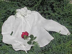 Košele - Biela ľanová blúzka - 12110086_