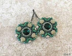 Náušnice - Luxusné smaragdovo-sivé Swarovski náušnice - 12109688_