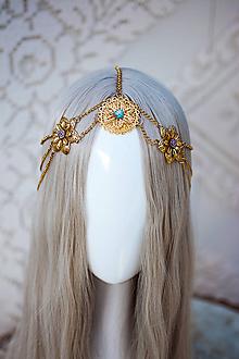 Ozdoby do vlasov - Zlato tyrkysová boho čelenka - 12110956_