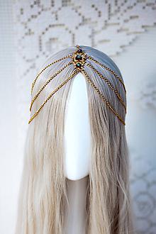 Ozdoby do vlasov - Zlato čierna boho čelenka - 12110971_