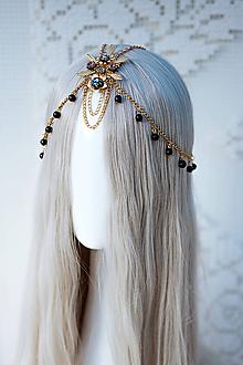Ozdoby do vlasov - Zlato čierna boho čelenka - 12110983_