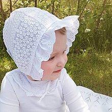 Detské čiapky - Baby čepiec Madeira volánik  (krajka) - 12108604_