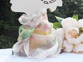 Šatky - Hodvábna šatka - Ružový konárik - 12109823_