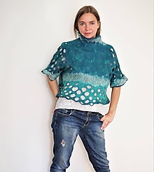 Topy - Tyrkysovo-zelený dámsky vlnený top - 12111272_