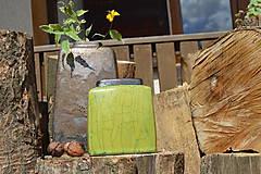 Dekorácie - Váza vysoká bronzová a bronzovo zelená -SET - 12113791_