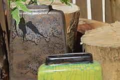 Dekorácie - Váza vysoká bronzová a bronzovo zelená -SET - 12113808_