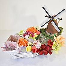 Dekorácie - Dekorácia-svietnik: Kvety s mlynom - 12112990_