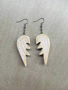 Náušnice - Drevené masívne náušnice. Anjelské krídla. - 12113376_