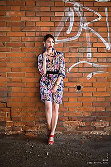 Šaty - Kvetované kimono - 12113801_